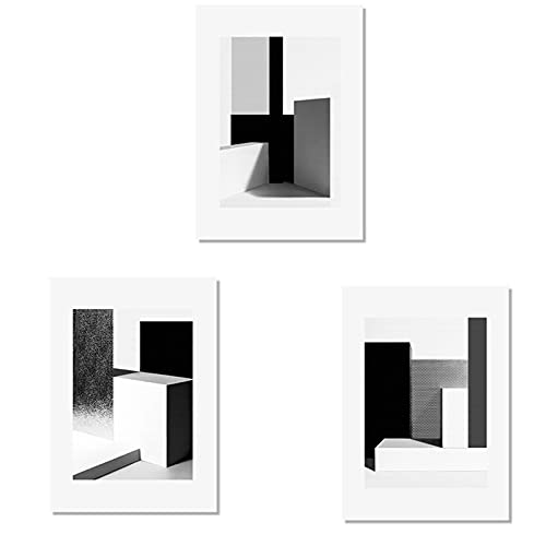 Abstracto blanco y negro geométrico pared arte lienzo pintura carteles impresión galería imagen para sala de estar decoración interior del hogar 30x40cmX3PCS sin marco