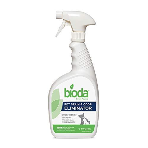 Bioda Commercial Strength Enzymatic Stain & Odor Eliminator for Pets | Industrial-Grade Formula Removes Dog and Cat Urine | USA Made Carpet Spot Cleaner | 32oz Sprayer