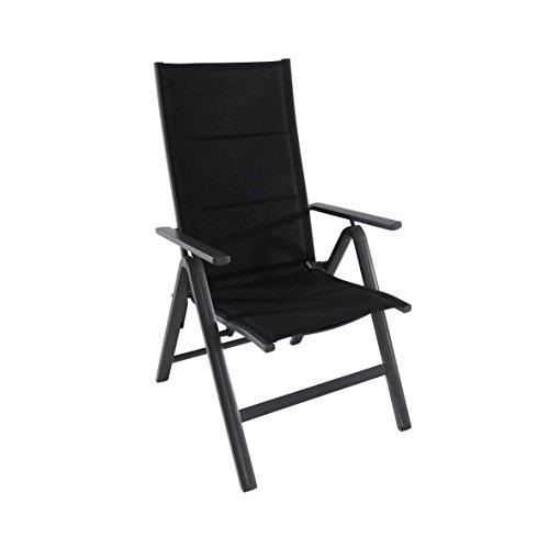 greemotion Chaise pliante de jardin Grenada – Chaise réglable à dossier inclinable - Chaise avec accoudoir noire – Chaise extérieur pliante et inoxydable – Chaise pliante aluminium et textilène