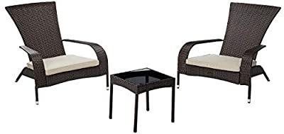 Patio Sense 3-Piece Wicker Lounge Chair (Set of 2) and Glass-Top End Table Set, Coconino Patio Conversation Set, Porch, Garden, Outdoor, Lawn, Yard, Bistro Furniture Table and Chairs Set with Cushions