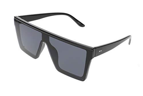 Flawless Eyewear Gafas de sol planas de gran tamaño para hombres y mujeres, montura de aviador cuadrada, estilo retro, montura de espejo, color negro