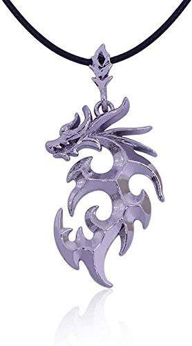 LBBYMX Co.,ltd Collar de Moda Joyería de Moda Brave Man Flame Dragon Collar dominante Hombres S Collares Pendientes - Plateado
