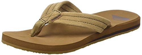 Quiksilver Men's Carver Suede 3-Point Flip Flop Sandal, Tan/Solid, 9 M US