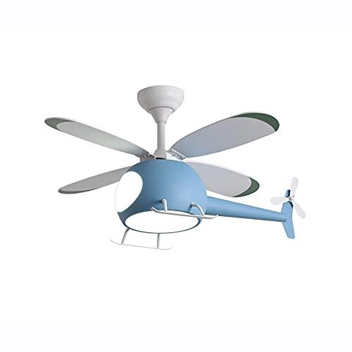 WSJZ Luz Colgante LED De Helicóptero Creativo,Iluminación del Ventilador De Techo con Control Remoto,Velocidad De Viento Ajustable 6 Reversible,Lámparas De Techo para Habitación De Niños,Azul
