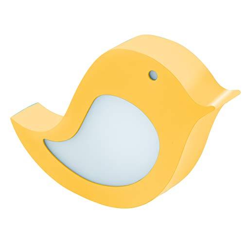 EGLO SPARINO wandlamp, tafellamp vogel, kinderlamp, kinderkamer, babykamer decoratie, nachtlampje, staal, 4,2 W, geel, L: 22 x H: 19 cm