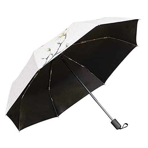 Paraguas para mujer, ultraligero, protección UV, soleado y lluvioso, doble uso, plegable, 3 descuentos manuales, sabor clásico, sombrillas, sombrillas, resistente al viento, color hibisco