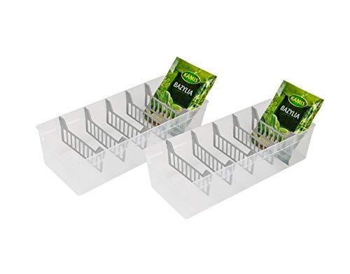 BranQ - Home essential Gewürzbehälter, Küchen Organizer, Set von 2 Stc. Transparent BPA-frei, Kunststoff PP, 30,7x11,3x8 cm (LxBxH), 2