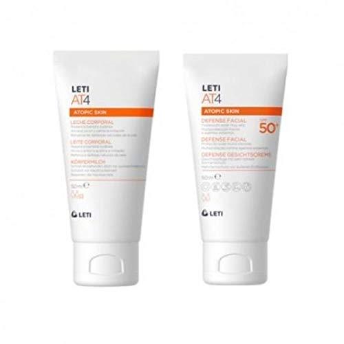 Leti AT4 Atopic Skin Defense Facial Crema SPF50+, 50ml+REGALO Leche Corporal, 50ml