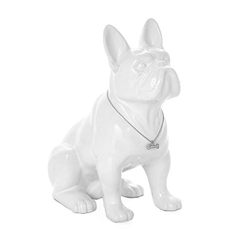 Torre & Tagus Sitting French Bulldog Sculpture Decor Small Animal Statue for Home Office, Book Shelf, Kitchen Countertop, Bathroom TV Stand Dog Lovers, One Size, White