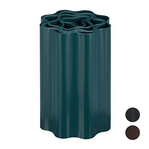 relaxdays Recinzione Flessibile, Bordura per Aiuola in Plastica, Bordatura per Giardino, 20x900cm, Verde