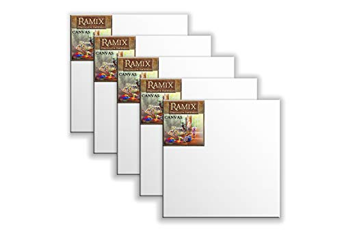 Ramix 5er Set 50x50 cm Quadratisch Leinwand Keilrahmen Weiß Stabilen Viele Größen