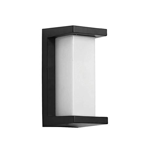Lámpara de pared resistente Apliques al aire libre impermeable de la lámpara de pared moderna, Exterior Cuerpo de iluminación LED Luz de mamparo forma rectangular cubierta PC transparente, color, 12W
