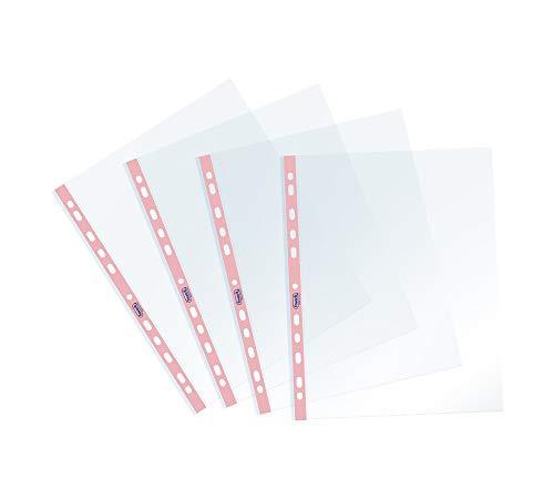 Favorit Buste Perforate, Lucide, Alto Spessore, 22 x 30 cm, 25 Pezzi, Trasparenti con Banda Colorata Rosa Pastello
