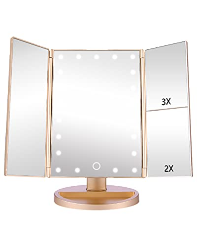 EASEHOLD Makeup Mirror with Lights 21 LEDs Lighted Vanity Mirror 2X 3X Magnifying 180 Degree Adjustable Desk Mirror with Touch Screen Dual Power Supply Countertop Trifold Cosmetic Mirror
