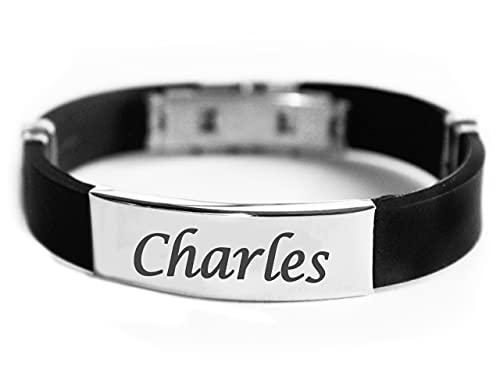 Pulsera con nombre CHARLES para hombre de silicona y tono plateado grabado plano – regalo para hombres – cumpleaños, Navidad