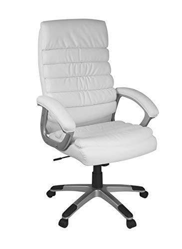 FineBuy Bürostuhl Valo Kunstleder Weiß ergonomisch mit Kopfstütze   Design Chefsessel Schreibtischstuhl mit Wippfunktion   Drehstuhl hohe Rücken-Lehne X-XL 120 kg