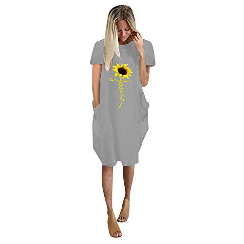 XOXSION Mini vestido de verano con estampado de girasoles, vestido de manga corta para mujer