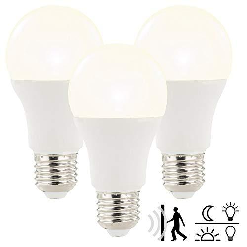 Luminea LED Lampe automaitch: LED-Lampe mit Radar-Bewegungs- und Lichtsensor, 12 Watt, E27, 3er-Set (Birne mit Bewegungsmelder)