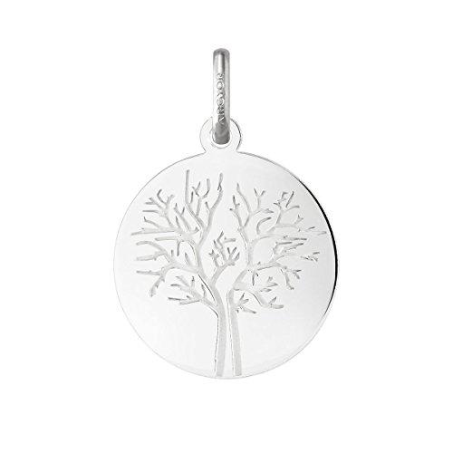 HIVER - Medaglia con albero della vita, in oro bianco 18 carati, diametro: 18 mm, www.diamants-perles.com