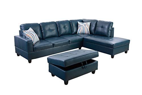 Lifestyle Furniture Right Facing 3PC Sectional Sofa Set,Faux Leather,Blue(LSF09518B)