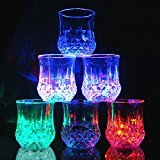 Shot Glasses Set,[6 PCS] DiDaDi Automatic Water Activated Colorful Flashing LED Light Up Blinking Beer Wine Whisky Vodka Martini Drinkware Glow Glasses Mugs for Bar Club Christmas Party Supplies