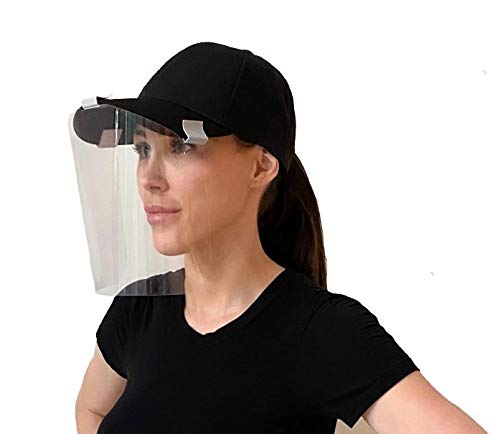 Protective Clip-On Face Shield - 5 Pack by One Touch Medical, Fits Baseball Hats, Fully Transparent Face and Eye Protection from Droplets and Saliva