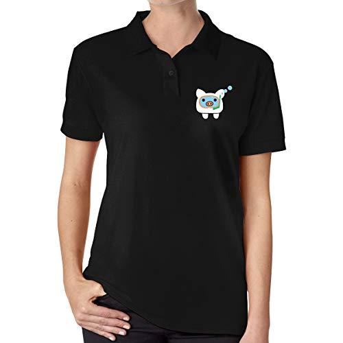 Scuba Diving Pig Women's Short Sleeves Polo Shirt Women T Shirt Black