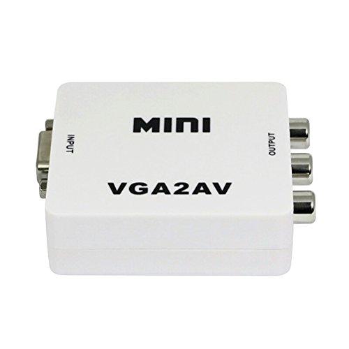 LEDMOMO Convertitore da 1080P Mini VGA a AV RCA Adattatore PC NTSC TV a PC (bianco)