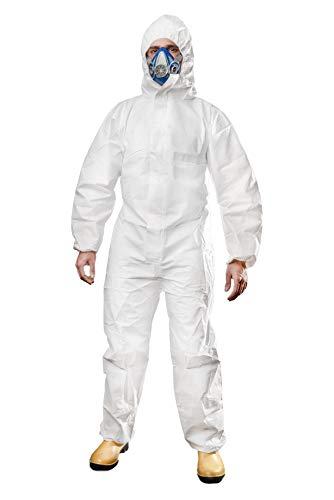 ACE CoverX Arbeitsoverall - Einweg-Schutzanzug gegen Staub Flüssigkeiten Chemie - Einweganzug Weiß Gr. L
