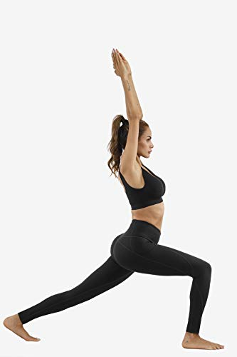 Lingswallow High Waist Yoga Pants - Yoga Pants with Pockets Tummy Control, 4 Ways Stretch Workout Running Yoga Leggings (Black, X-Small)