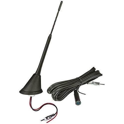tomzz Audio 1000-043 Dachantenne 16V-Look AM/FM mit 450cm Kabel, Verstärker, DIN-Stecker, Anti Noise Stab 23cm