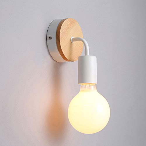 XL Applique Murale Loft Simplicity E27 LED Plaque de Fer luminaire Mural pour Chambre d'enfant Chambre Chambre Bar Nuit d'hôtel (Couleur : Blanc)