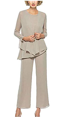 3 Pieces Chiffon Mother Pants Suits Women's Formal Evening Gowns Long Sleeves Wedding Outfit Taupe US12
