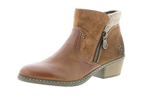 Rieker Damen Stiefeletten, Frauen Ankle Boots, Women Woman Freizeit leger Stiefel halbstiefel Bootie Lady,Braun(Muskat),40 EU / 6.5 UK