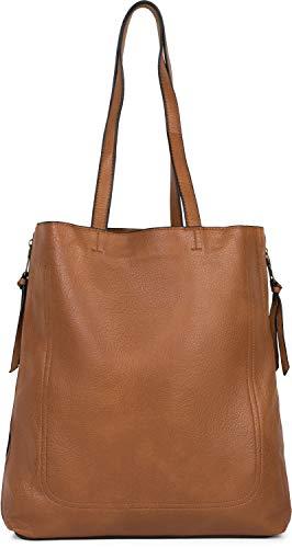 styleBREAKER Damen Tote Bag Handtasche mit seitlichen Reißverschlüssen, Shopper, Schultertasche, Notebook Tasche 02012310, Farbe:Cognac