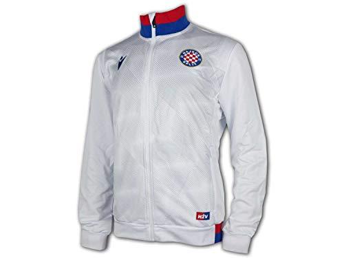 Macron Hajduk Split Jacke weiß Hajduk Full Zip Top Fan Sportjacke Kroatien, Größe:M