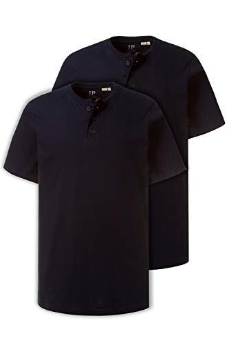 JP 1880 Herren große Größen bis 7XL, T-Shirt im Doppelpack, Henley-Shirt, Rundhalsausschnitt, Knopfleiste, Navy, Navy 4XL 708420 70-4XL