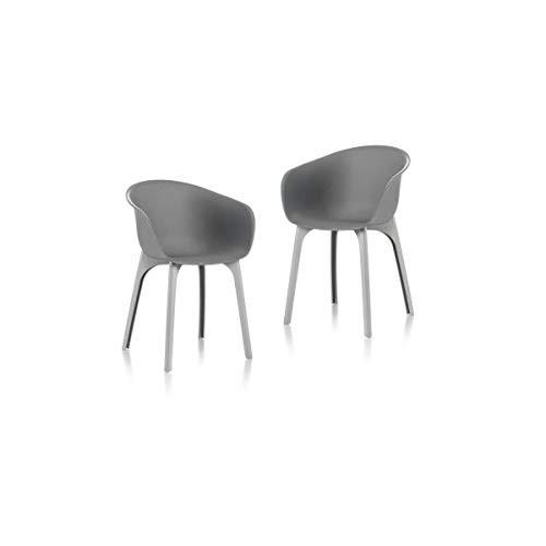 IDEA Set di 2 sedie da giardino Diva grigie