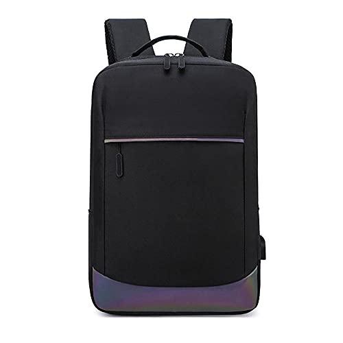 Swinno Mochila para ordenador portátil de 15,6 pulgadas, mochila de ordenador de moda de nailon repelente al agua, con puerto de carga USB para viajes, negocios, universidad, mujeres/hombres, negro