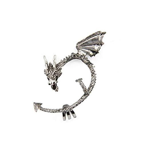 Juego de Tronos Manguito del oído del dragón del Pendiente del Abrigo gótico Punky del Estilo del Metal de la Vendimia del Clip del oído de Plata -Antique