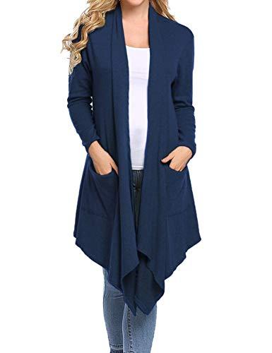 Abollria Damen Wasserfall Lang Cardigan Offene Strickjacke Langarm Casual Herbst Jacke mit Eingrifftaschen