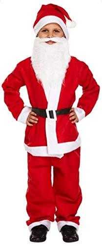 Garçons 5 Pièces Père Noël Père Noël Fantaisie Costume de Robe Costume + Barbe - Rouge, Rouge, 10-12 Years