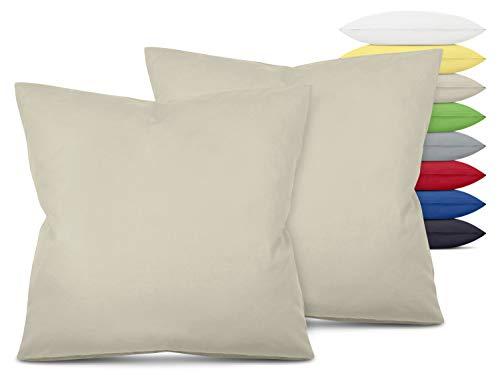 Unifarbene Kissenbezüge im Doppelpack - in 8 Farben und 3 Größen - Moderne Wohndekoration in dezentem Design, ca. 80 x 80 cm, beige