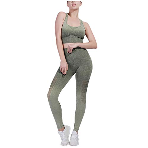 Read About Womens 2 Piece Gradient Print Gym Yoga Crop Tank Top Bra High Waist Pants Leggings Sports...