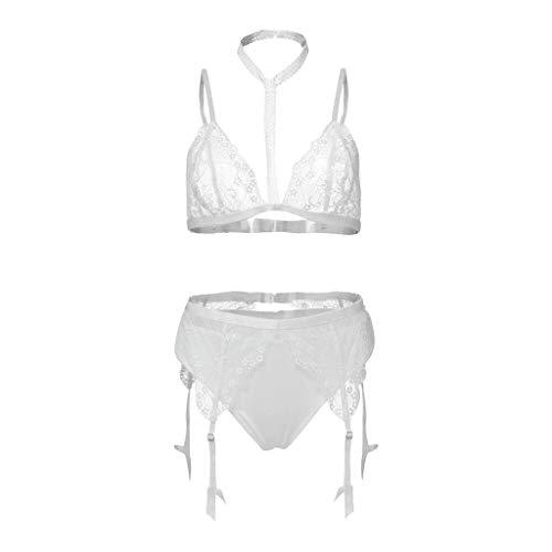 KPPONG Damen Negligee Nachtwäsche Reizvolle Strapsen Spitze Unterwäsche Lingerie Nachthemd mit Strumpfband-Dessous