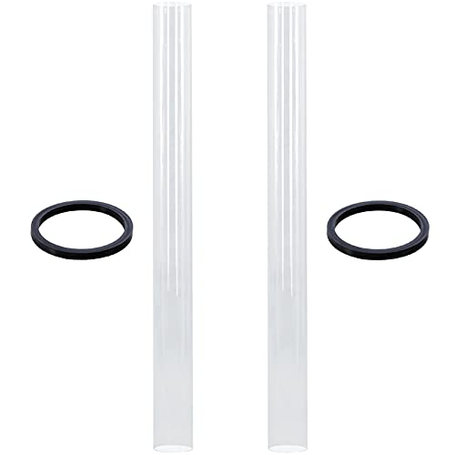 SUMNEW SGT-Glass Quartz Glass Tube Table Top Patio Heater Glass Tube with Neoprene Ring Silicon Ring Support Ring Replacement fits HLDS01-GTHG, HLDS01-GTSS Heater, 49.5' Tall 4' Diameter, 2 Pack