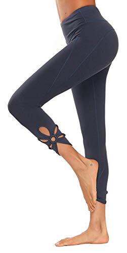 Yavero Sporthose Damen High Waist Blinkdicht Sport Leggings Elastische Tummy Control Yogahose Lange Laufhose mit Taschen,Stil: Grau Blau XL