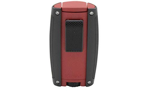 Xikar Turismo Double Jet Flame Cigar Lighter, Attractive Gift Box, Pocket-Friendly, Protective Flip-Lid, Over-Sized Fuel Tank, Matte Red