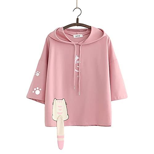 Esdlajks Kawaii Hoodie para Mujer - Japonés Verano Nuevo Estudiante Lindo Gato Cola Femenino Manga Corta Sudadera con Capucha Camiseta Mujer Estudiante Top (Color : Pink, Size : One Size)