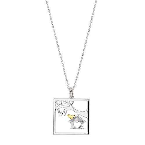 Jouailla Halskette Silber rhodiniert quadratisch mit Baum, Vogelhaus und Vogel vergoldet (317574)